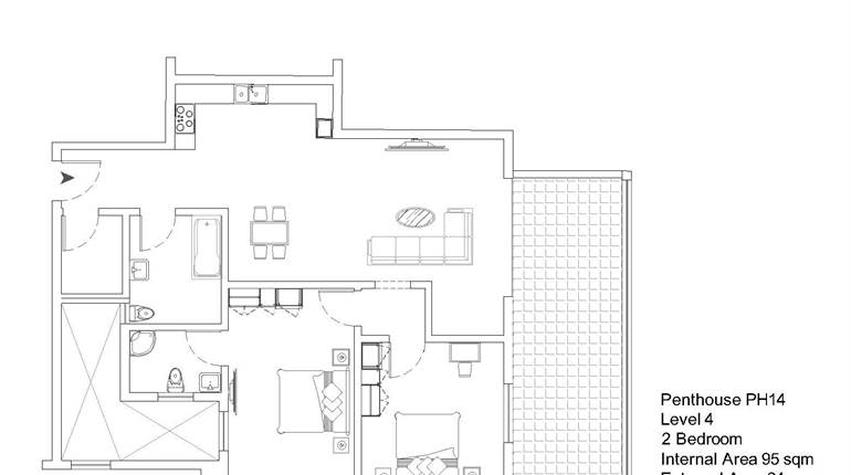 Mqabba, On Plan - 2 Bedroom Penthouse