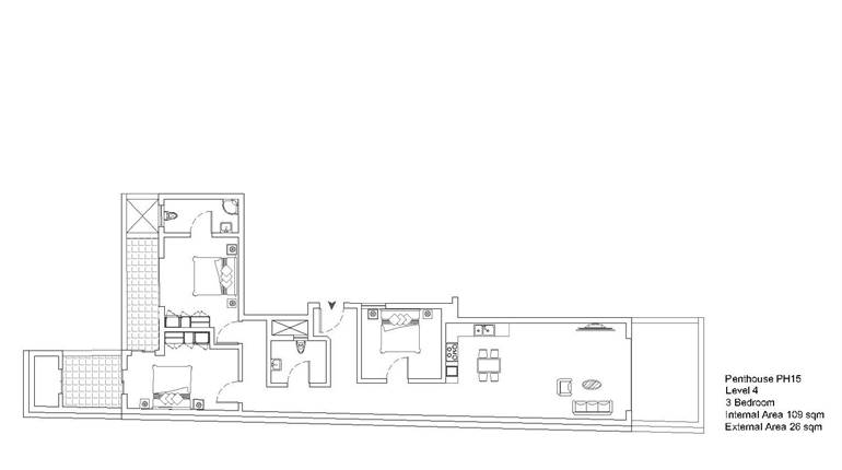 Mqabba, On Plan - 3 Bedroom Penthouse
